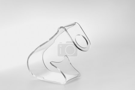Photo for Acrylic card holder for events. Isolated transparent object with white background - Royalty Free Image