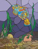 Mozaika. Podvodní svět. Světlé mandarinky ryby, šnek, řasy, džbán