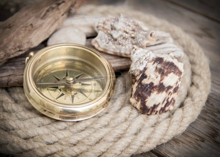 Photo for Exploring background with compass - Royalty Free Image