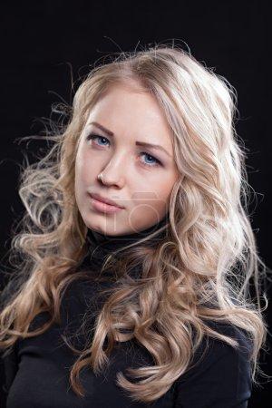Photo for Upset crying woman. tragic expression. dark background - Royalty Free Image