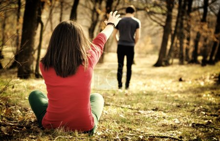 Photo for Young couple breaking up. Girl shouting out for boy. - Royalty Free Image