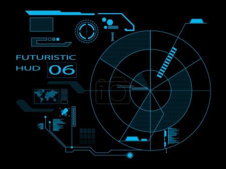 Illustration pour Interface utilisateur graphique virtuelle futuriste HUD - image libre de droit