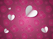 Paper Hearts on the Flower Pattern