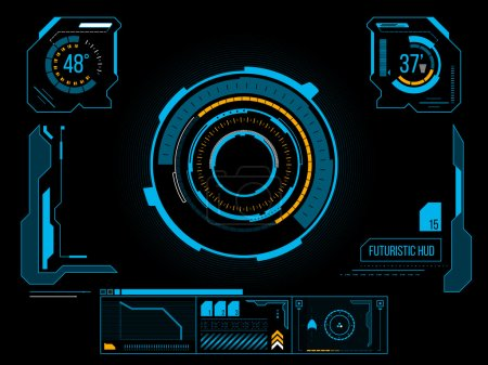 Illustration for Futuristic blue virtual graphic touch user interface HUD - Royalty Free Image