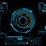 Futuristic blue virtual graphic touch user interfa...