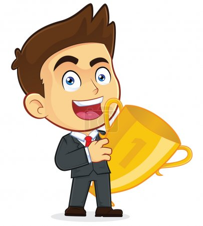 Businessman Holding a Trophy Cup
