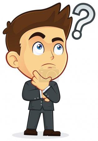Illustration pour Clipart Image d'un homme d'affaires personnage de bande dessinée touchant le menton avec un point d'interrogation - image libre de droit