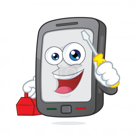 Illustration for Clipart picture of a smartphone cartoon character holding a screwdriver and a toolbox - Royalty Free Image