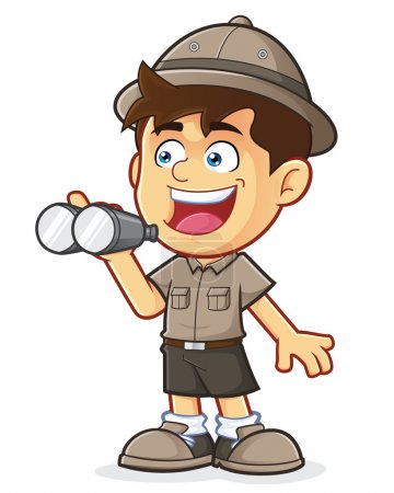 Illustration for Vector clipart picture of a Boy Scout or Explorer Boy cartoon character with Binoculars - Royalty Free Image