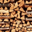 Close up on orderly placed pile of fire wood...
