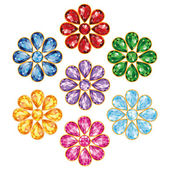 Pattern of seven flowers composed of precious stones of different colors - blue (sapphire) red (ruby) green (emerald) purple (amethyst) yellow (topaz amber) blue and pink (diamonds) Mid flower - round stone petals in the form of drops