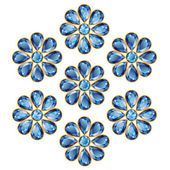 Pattern of seven blue flowers composed of sapphire gemstones Mid flower - round stone petals in the form of drops More - in my portfolio
