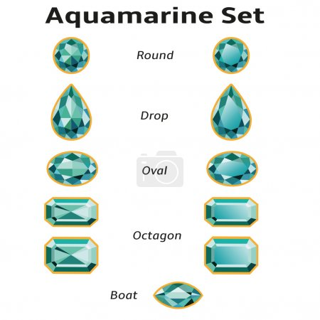 Illustration for Aquamarines set different cut - round, drop, oval, boat and octagon. Brilliant three-dimensional jewelry on a white background. Isolated Objects. All gems signed font Amble (free font, taken here www.fontsquirrel.com) - Royalty Free Image