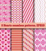 Set of hearts seamless patterns