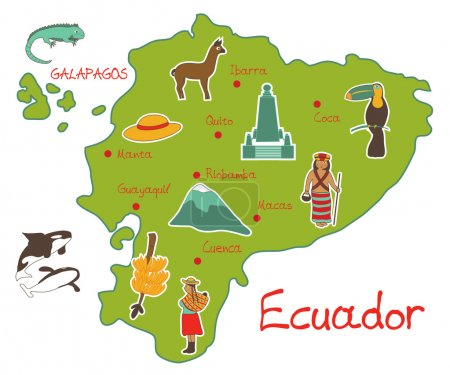 Map of ecuador with typical features