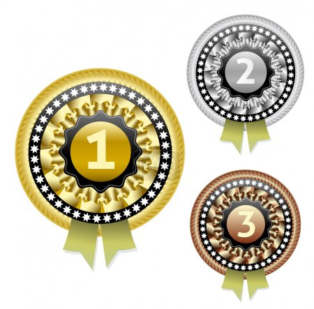 Gold, silver and bronze vector medals set. eps10