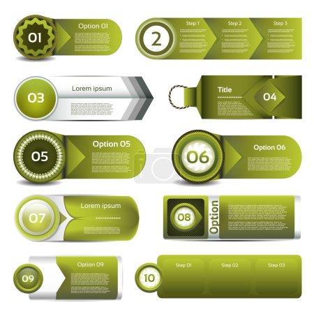 Illustration pour Ensemble de vecteur vert progrès, les version, les icônes de l'étape. EPS 10 - image libre de droit