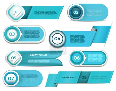 Set of blue vector progress, version, step icons. eps 10
