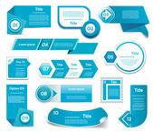 Sada modré vektorové pokroku, verze, krok ikony. EPS 10