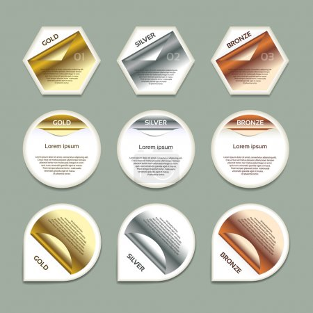 Gold, Silver, Bronze Vector Progress Background. Product Choice or Version. eps 10