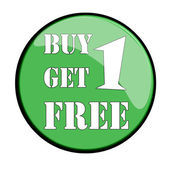 Glossy label buy one get one free vector illustration