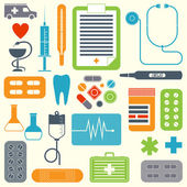 Vector set of flat medical icons isolated on light background