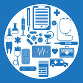 Vector set of flat medical icons isolated on white background