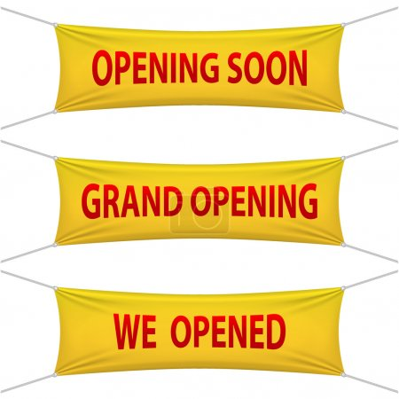 Illustration for Opening Soon, Grand Opening and We Opened banners. Vector illustrations. - Royalty Free Image