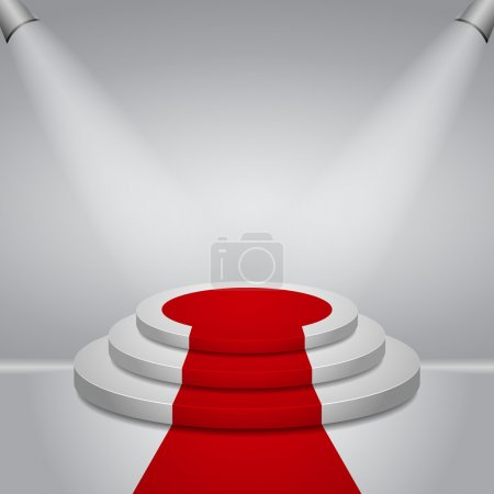 Illuminated round stage podium with red carpet for award ceremony