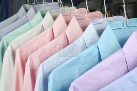 Photo for Ironed shirts in dry cleaning - Royalty Free Image