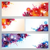 Set of banners and business cards with abstract flowers and blots