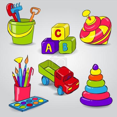 Illustration pour Set avec Whirligig, Blocs pour enfants, Seau et Pelle, Peinture, Voiture, Pyramide - image libre de droit
