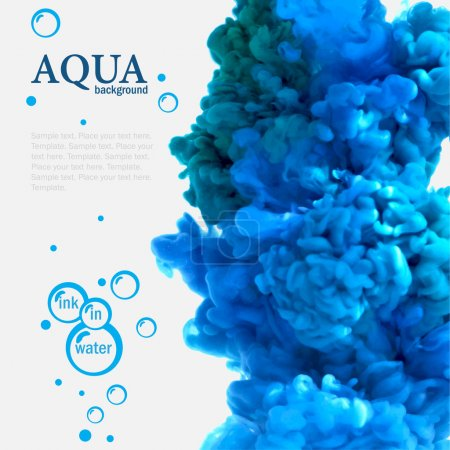 Illustration for Aqua blue swirling ink in water template with bubbles - Royalty Free Image