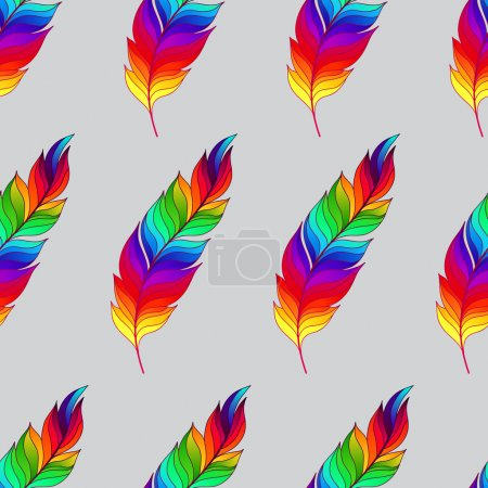 Seamless pattern with rainbow feathers