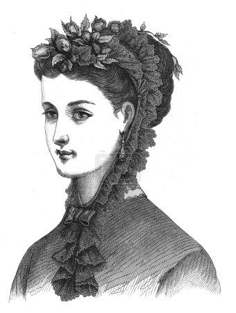 Portrait of painted vintage girl