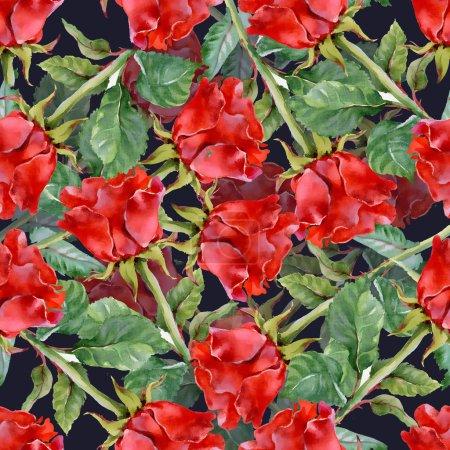Photo pour Roses rouges motif sans couture sur fond noir - image libre de droit