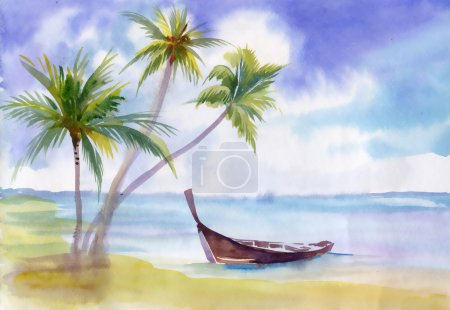 Boat on the beach and palm trees
