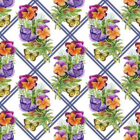 Pansies with butterflies