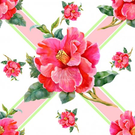 Photo pour Aquarelle motif sans soudure floral vintage, sur fond blanc avec des rayures - image libre de droit