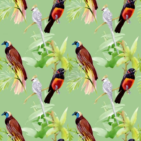 Photo for Watercolor pattern with exotic birds sitting on branches on green background - Royalty Free Image