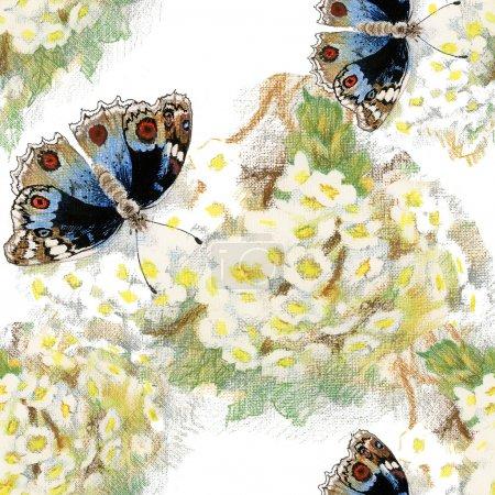 Photo pour Modèle seamless floral coloré avec des papillons et fleurs sur fond de couleur - image libre de droit