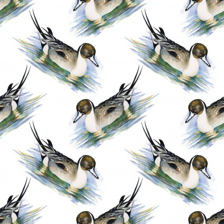 Seamless pattern with Wild ducks