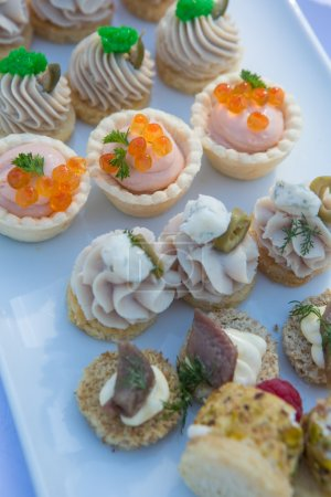 Delicious appetizer canapes on board for celebratory table