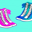 Wedge sneakers pink and blue color women's fashion...