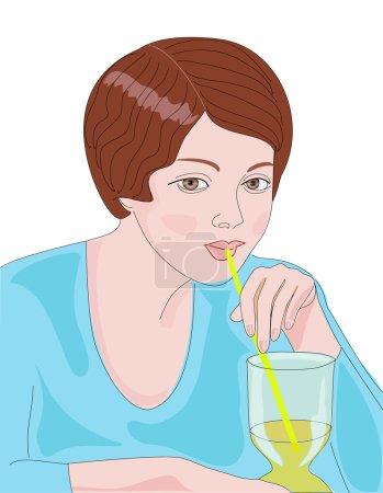 Illustration pour Fille boire du jus d'orange de tubule dans caf - image libre de droit