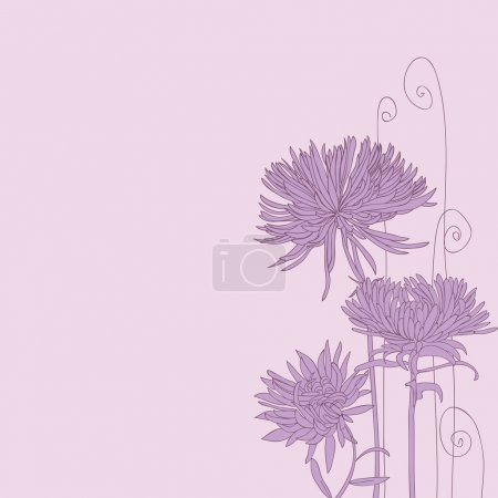 Purple background with flower asters.