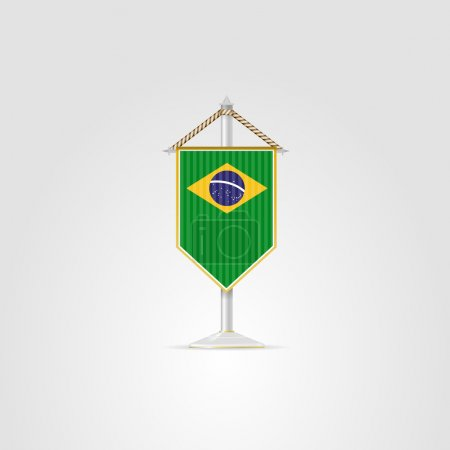 Pennon with the flag of Brazil. Isolated vector il...