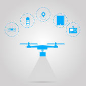 Flat vector illustration for monitoring with quadrocopter
