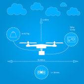 Flat illustration for technical characteristics of quadrocopter