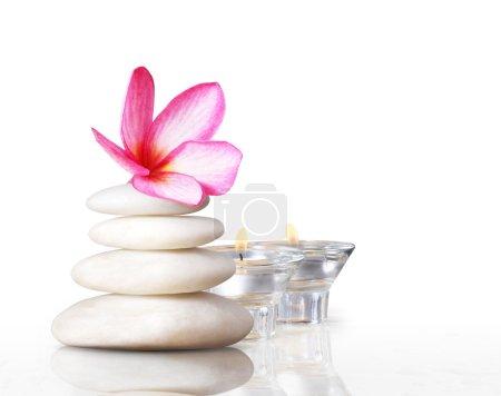 Photo pour Concept spa pierres de massage avec fleur frangipani plumeria - image libre de droit